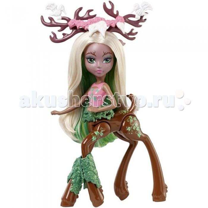 Monster High Кукла кентавр Fawntine FallowheartКукла кентавр Fawntine FallowheartКукла кентавр Монстр Хай Fawntine Fallowheartр – это красавица, которая обязательно впечатлит ребенка своим внешним видом.   Смуглая кожа куклы отлично сочетается с ее белыми волосами с зелено прядью. Милые длинные ушки видны из-под волос. Оленьи рога куклы, на которых сидят две белые птички, украшены розовым венком.   Она одета в красивый розовый топ, украшенный зелеными цветами. Дополнением служит широкий зеленый пояс в виде веночка. Снизу у куклы коричневые копыта с зелеными украшениями, а также различными узорами.   У куклы подвижные руки и ноги, также поворачивается голвоа и туловище.   Высота фигурки: 15 сантиметров.  У куклы подвижные конечности.<br>