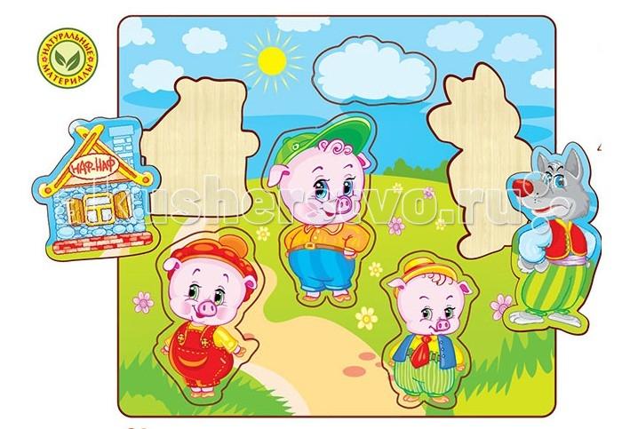 Полноцвет Пазлы вставные Три поросёнка 162831Пазлы вставные Три поросёнка 162831Полноцвет Пазлы вставные Три поросёнка известные всем с детства сказочные герои  доставят Вашему ребенку много радостных минут. Процесс складывания научит малыша усидчивости и внимательности, поможет развить воображение и наглядно-образное мышление. Пазл развивает мелкую моторику, наблюдательность, координацию движений, память и цветовосприятие. Пазл удобно брать с собой в путешествие, чтобы с пользой провести свободное время.   Деревянные вставные пазлы с высококачественной печатью. У них высокий срок службы и устойчивость к нагрузкам.С пазлом малыш весело проведет время. Рекомендовано для детских садов и центров, а также для домашнего использования.  Особенности: Пазлы сделаны из натурального дерева Точная лазерная резка Высококачественная печать Прочность и долговечность Экологичность и безопасность Рекомендовано для детского развития<br>