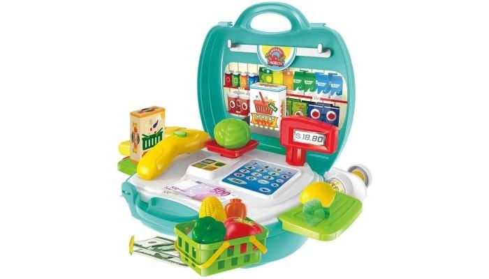 1 Toy Игровой набор Продавец cупермаркета (23 предмета)Игровой набор Продавец cупермаркета (23 предмета)1 Toy Игровой набор Продавец cупермаркета (23 предмета) поможет ребенку придумать множество сюжетно-ролевых игр.  Особенности: Упаковка в виде пластикового чемоданчика содержит в себе все необходимые предметы и аксессуары, которые понадобятся для реалистичного игрового сюжета.  Все предметы из набора изготовлены из пластмассы и окрашены в яркие цвета. Такой игровой набор порадует ребенка и поможет открыть маленький магазин для своих плюшевых друзей.  В комплекте: овощи, корзинка, 2 выдвижных столика, наклейки, чемоданчик, касса, весы, сканер, коробочки.<br>