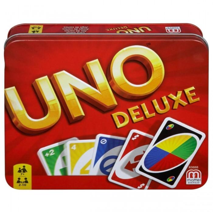 Mattel Настольная игра Уно - версия люксНастольная игра Уно - версия люксКарточная игра Уно в люкс-версии от компании Mattel станет замечательным подарком для близких, друзей и знакомых. У этой игры масса поклонников разных возрастов по всему миру. Колода игральных карт упакована в фирменную жестяную коробочку, а также в наборе имеется бланк для ведения счета и карандаш для записей. Правила очень простые, и с ними справится даже ребенок.  Уно станет замечательным поводом весело провести вечер всей семьей или в кругу друзей. Вместе с набором игральных карт есть инструкция, которая поможет быстро освоить все тонкости игры. Компактный размер упаковки и удобная коробочка позволят брать карты с собой и играть в любом удобном месте. На одну партию уходит 15-20 минут, поэтому игра не успевает надоесть и при этом дарит массу положительных эмоций.   В комплекте:  - 108 игровых карточек; - правила игры; - бланк для ведения счета; - карандаш; - металлическая фирменная коробка для хранения карт.<br>