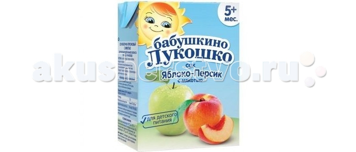 Бабушкино лукошко Сок Яблоко-персик с мякотью с 5 мес. 200 мл
