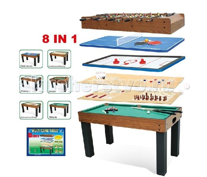Partida Настольные игры 8 в 1 121Настольные игры 8 в 1 121Настольные игры Partida 8 в 1 121 подойдут как для людей старшей категории, так и детворе.   Название полностью соответствует самому набору, состоит из 8 разнообразных игр.   Иногда для взрослых придумать развлечение сложнее, чем детям.    Каждый игрок может посоревноваться с соперником.   Вы только поочередно меняете форму поверхности и наслаждаетесь любимой забавой.  Футбол + аэрохоккей + теннис + бильярд + шахматы + шашки + нарды + бильярд – состав одного комплекта.   Можно устроить состязания прямо у себя дома и награждать заманчивыми призами.  Атмосфера азарта и отличные забавы оставят приятные впечатления от праздника.   Особенности: нет ограничений по возрасту мобильность легкая смена поверхности стола выбор из 8 увлекательных игр на любой вкус подарочная упаковка<br>