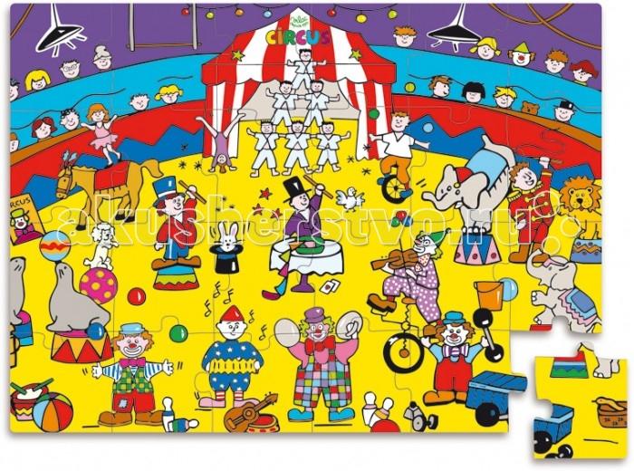 Vilac Пазл Цирк в коробке Клоун 24 элементаПазл Цирк в коробке Клоун 24 элементаVilac Пазл Цирк в коробке Клоун 24 элемента V2590  Пазл Цирк в коробке выполнен в ярких цветах, что обрадует вашего малыша. Состоит набор из 24 деталей, собрав которые, ребята увидят арену цирка с животными, клоунами и акробатами. Пазлы изготовлены из прочного дерева, что в несколько раз увеличивает срок их службы, ведь они не гнутся, не бьются и не рвутся. Упакована игра в красочную коробку в виде веселого клоуна. Пазлы всегда будут убраны, и вы их не потеряете. Перед игрой детям надо объяснить, по какому принципу и как соединять элементы, а когда ребята все поймут, то смогут самостоятельно собирать пазлы. Собирая картинки, малыши научатся логически мыслить, тренировать пространственное восприятие и мышление, концентрировать внимание и станут более усидчивыми. Также у детей разовьется моторика и координация движений.<br>