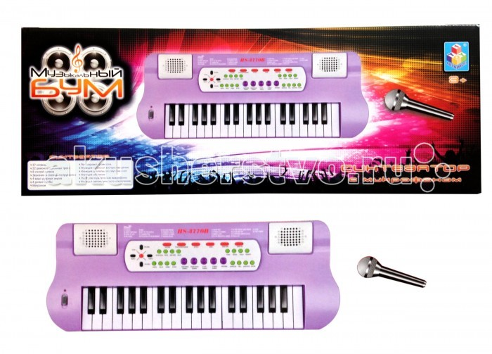 Музыкальная игрушка 1 Toy Музыкальный бум Синтезатор с микрофономМузыкальный бум Синтезатор с микрофономМузыкальная игрушка 1 Toy Музыкальный бум Синтезатор с микрофоном предназначена для детей, которые уже с самого раннего возраста проявляют интерес к музыке.   Особенности: На самом синтезаторе расположены 37 клавиш.  В нем уже имеются 22 мелодии и целых 16 ритмов.  Воспроизводить он может звучание 16 музыкальных инструментов и 4 вида барабана. Все для того, чтобы ребенок раскрывал свой творческий потенциал. Микрофон из набора имеет функцию записи и воспроизведения голоса.  Игрушка отлично развивает у ребенка логическое мышление, а также творческие способности.  Синтезатор имеет приятную фиолетовую расцветку, а также интересный и привлекательный дизайн.<br>