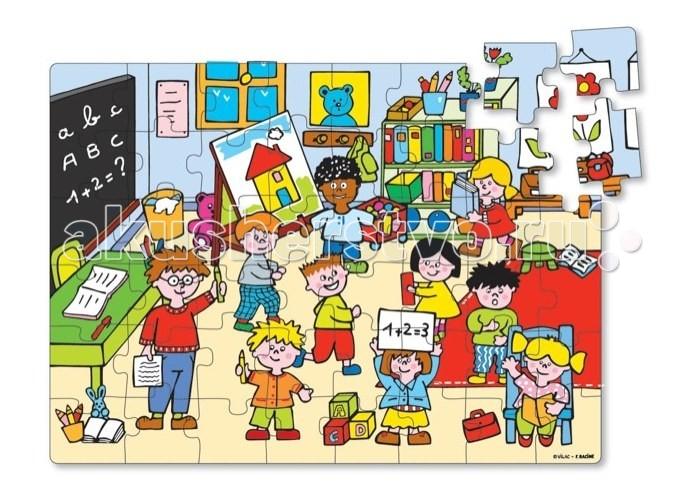 Vilac Пазл Школа в коробке Школьный автобус 48 элементовПазл Школа в коробке Школьный автобус 48 элементовVilac Пазл Школа в коробке Школьный автобус 48 элементов V2553  Пазл Школа в коробке выполнен в ярких цветах, что обрадует вашего малыша. Состоит набор из 48 деталей, собрав которые, ребята увидят веселый школьный класс. Пазлы изготовлены из дерева, что в несколько раз увеличивает срок их службы, ведь они не гнутся, не бьются и не рвутся. Упакована игра в красочную коробку в форме школьного автобуса.  Пазлы всегда будут убраны, и вы их не потеряете. Перед игрой детям надо объяснить, по какому принципу и как соединять элементы, а когда ребята все поймут, то смогут самостоятельно собирать пазлы.   Собирая картинки, малыши научатся логически мыслить, тренировать пространственное восприятие и мышление, концентрировать внимание и станут более усидчивыми. Также у детей разовьется моторика и координация движения. Игрушка разработана для детей от трех лет, изготовлена из дерева.<br>