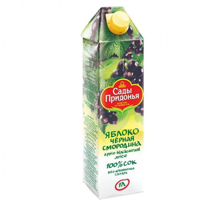 Сады Придонья Сок Яблоко-черная смородина 1 лСок Яблоко-черная смородина 1 лСады Придонья Сок Яблоко-черная смородина 1 л 4607163093076  Черная смородина одна из самых любимых ягод в нашей стране, потому что помимо великолепного вкуса эта ягода является одной из самых полезных для здоровья. Недаром кусты чёрной смородины можно увидеть практически на всех садовых участках. По содержанию витамина С чёрная смородина уступает только шиповнику. В ней также содержатся витамины В1, РР, каротин, калий, железо, лимонная, яблочная и другие органические кислоты, пектины, дубильные вещества. Эта удивительная ягода обладает противовоспалительными и дезинфицирующими свойствами, повышает иммунитет и сопротивляемость организма различным заболеваниям. Регулярное употребление сока из чёрной смородины и яблока поможет Вашему организму противостоять различным заболеваниям.  Состав: микс соков черной смородины и яблок высшего качества.<br>