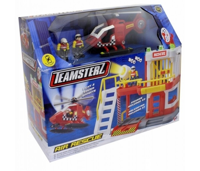 HTI Воздушные спасатели TeamsterzВоздушные спасатели TeamsterzПомоги сохранить спокойствие на улицах с помощью команды воздушных спасателей Teamsterz. Набор включает базовую станцию, вертолёт и 2 фигурки спасателей, готовых прийти на помощь по первому зову.   Свет и сирена как дополнительный бонус спасателей. Лопасти вертолета вращаются вручную.          Воздушные спасатели. Со световыми и звуковыми эффектами.  В комплект входит: воздушно - спасательная станция, вертолет, 2 фигурки.  Работает от 3-х батареек типа ААА (В комплект не входят).  Изготовлено из полимерного материала с элементами из металла.<br>