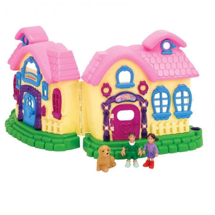 1 Toy Домик для кукол с мебелью Мой маленький мирДомик для кукол с мебелью Мой маленький мир1 Toy Домик для кукол с мебелью Мой маленький мир подойдет для маленьких кукол и фигурок.   Особенности: Игрушку можно сложить или разложить.  Если соединить две части дома, то получится чемоданчик, в котором можно хранить разные вещи.  Фиолетовая дверь оснащена подсветкой, которая включается нажатием на сердечко.  Также домик-чемоданчик имеет звуковые эффекты.  К пластмассовому домику прилагается комплект мебели для обустройства спальни, кухни, гостиной и 3 фигурки людей и собачки.  Размер домика в разобранном виде: 46 х 8 х 23 см. Размер домика в собранном виде: 23 х 16 х 23 см.<br>