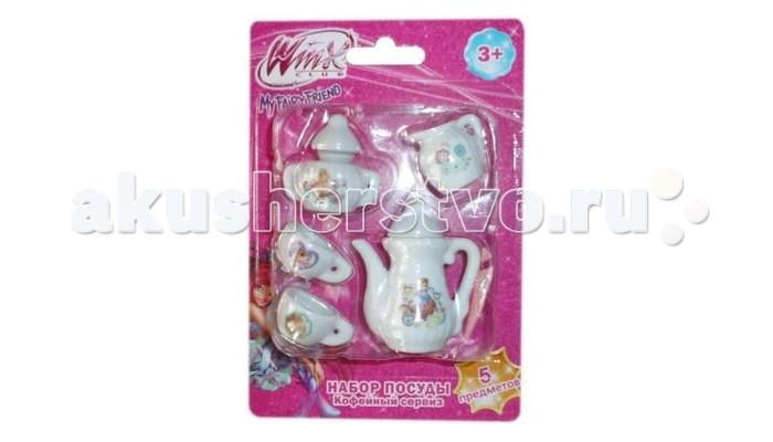 1 Toy Кофейный сервиз Winx 5 предметовКофейный сервиз Winx 5 предметов1 Toy Кофейный сервиз Winx 5 предметов двух чашечек, сливочника и сахарницы с крышкой.  Особенности: Игрушечная посуда выглядит совсем как настоящая; она изготовлена из фарфора нежного кремового оттенка.  Девочка сможет пригласить на чаепитие близкую подругу или любимую куклу, поставив на стол этот замечательный чайный сервиз.  Игрушечную посуду несомненно оценит поклонница мультфильма Винкс Клаб, ведь каждый предмет из сервиза украшен красочным изображением мультяшных фей.<br>