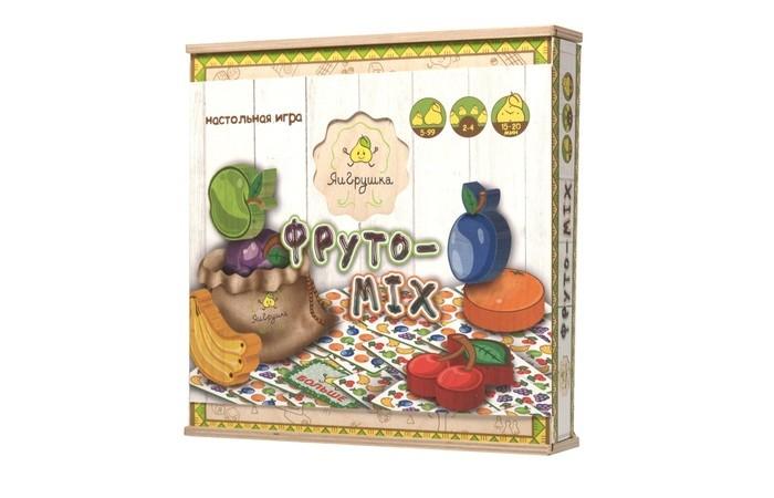 ЯиГрушка Настольная игра Фруто-MixНастольная игра Фруто-MixКто из собравшихся за столом любителей фруктов самый внимательный и быстрый, кто лучше всех считает?   Увлекательная, динамичная игра Фруто-Mix поможет определить это, развивая реакцию и внимательность игроков.   В комплекте: деревянные фигуры фруктов - 6 игровые карты - 60 мешочек - 1 карта больше-меньше - 1 правила игры - 1<br>