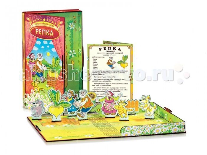 Деревянная игрушка Полноцвет Настольный театр-сказка Репка 162370Настольный театр-сказка Репка 162370Полноцвет Настольный театр-сказка Репка подарит Вашему ребёнку много замечательных мгновений. Представляет собой деревянную коробку с высококачественной печатью с двух сторон. На обратной стороне напечатано игровое поле. Все фигурки из дерева имеют двухстороннюю печать, лицо-спина. В комплект входит цветной проработанный сценарий. Высокий срок службы и устойчивость к нагрузкам.   Настольный театр – прекрасный вариант развивающих игр. Ведь с ним развиваются: мелкая моторика рук, речь, словарный запас, память, фантазия и воображение, умение выражать и распознавать эмоции, креативное мышление, актёрские способности, навыки общения и самовыражения.  Особенности: Натуральное дерево 3 мм высококачественная березовая фанера. Точная лазерная резка. Оригинальная конструкция коробки и игрового поля. Высококачественная печать с двух сторон. Прочность и долговечность. Экологичность и безопасность. Игровое поле. Сделано профессиональными художниками. Методически проработанный сценарий внутри.<br>