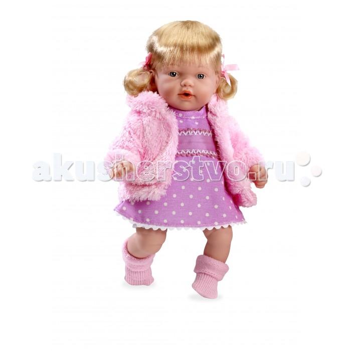 Arias Кукла Elegance 28 смКукла Elegance 28 смArias Кукла Elegance 28 см  Куклы Arias - это удивительный микс долгой семейной традиции, необычайно красивого дизайна, и стремления создавать лучший в своей категории продукт. Талантливые мастера испанской фабрики Arias создали премиальную коллекцию кукол под названием Elegance (Элеганс) - коллекцию, вдохновленную самой нежностью и элегантностью.  Весь процесс производства Elegance взлелеян с величайшей заботой, начиная от момента идеи дизайна каждого компонента и тщательного выбора самых качественных и натуральных материалов, до создания разнообразных кукольных лиц высочайшей детализации, и так сквозь все этапы до создания шедевра в мире кукол.  Всё для того, чтобы 100%-ный Европейский продукт получился непревзойденным, уникальным, высочайшего качества ручной работы. Эта светловолосая кукла с мягконабивным телом, ручками, ножками и головой из винила размером 28 см одета в вязаное платьице, кофточку и носочки. Функционал - смех, соска в комплекте.  Возраст: от 3 лет Комплект: кукла, соска. Наличие батареек: входят в комплект. Тип батареек: 3 x AG13 / LR44 (миниатюрные). Высота куклы: 28 см.<br>