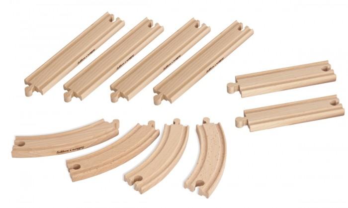 Eichhorn Набор элементов деревянной железной дороги 10 деталейНабор элементов деревянной железной дороги 10 деталейEichhorn Набор элементов деревянной железной дороги 10 деталей 100001415  Дополнительные детали для железнодорожного полотна от компании Eichhorn в количестве 10 штук помогут увеличить общую протяженность дороги. В набор входят 3 вида деталей, которые отличаются по длине и форме. Элементы идеально стыкуются между собой и надежно удерживаются вместе, что позволяет поезду бесперебойно двигаться. Также с помощью набора можно заменить одну из поломавшихся частей дороги, а не выбрасывать всю игрушку в мусорное ведро.<br>