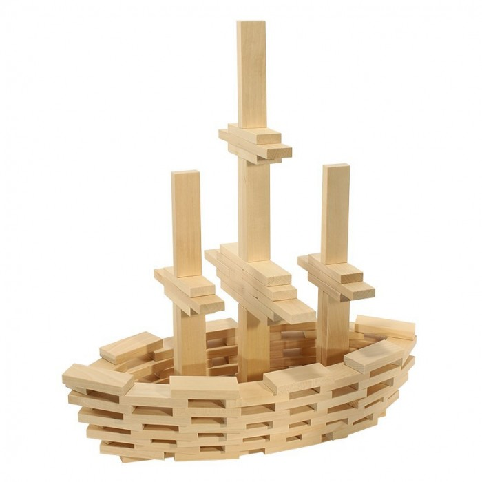 Деревянная игрушка Теремок Строительный набор Кусочки-брусочки 400 элементов
