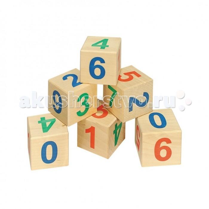 Деревянная игрушка Теремок Кубики Веселый счет 12 шт.