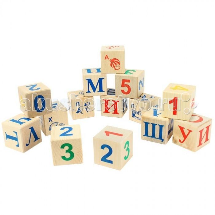 Деревянная игрушка Теремок Кубики с русским алфавитом 12 шт.