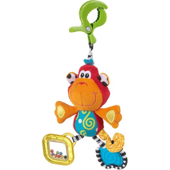 Подвесная игрушка Playgro Обезьянка 0182854Обезьянка 0182854Мягкая игрушка Обезьянка от фирмы Playgro, обязательно понравится вашему малышу.  Игрушка имеет удобное крепление, которое можно прикрепить к сидению, коляске или кроватке. Прорезыватели на игрушке снимут зуд с десен. Шуршалки стимулируют развитие нервных центров. Погремушка развивает слух и поисковый рефлекс, а бусинки в ножках развивают координацию глаз.<br>