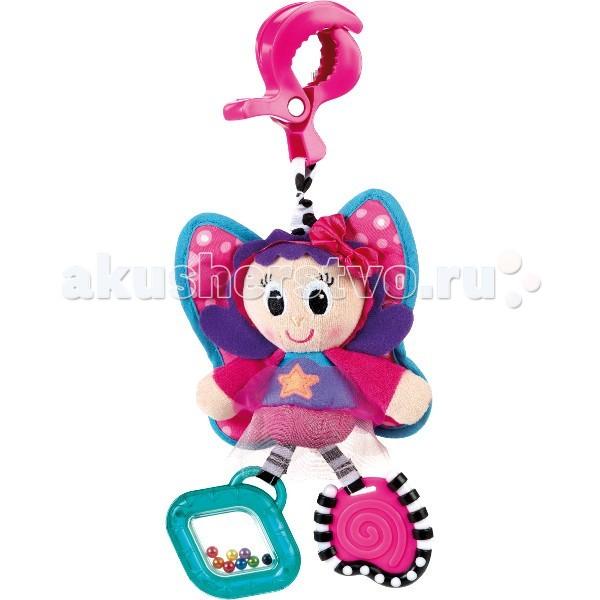 Подвесная игрушка Playgro Бабочка 0182850Бабочка 0182850Мягкая игрушка Бабочка от фирмы Playgro, обязательно понравится вашему малышу.  Игрушка имеет удобное крепление, которое можно прикрепить к сидению, коляске или кроватке. Прорезыватели на игрушке снимут зуд с десен. Шуршалки стимулируют развитие нервных центров. Погремушка развивает слух и поисковый рефлекс, а бусинки в ножках развивают координацию глаз.<br>