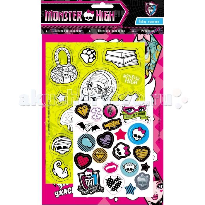 Monster High Набор наклеек 21094Набор наклеек 21094Monster High Набор наклеек.  Набор 3 в 1! Ребенок может раскрашивать картинки, украшать наклейками свою комнату или тетради и создавать наклейки самостоятельно - раскрашивать черно-белые наклейки.<br>