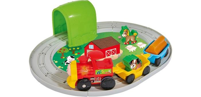 Развивающая игрушка Simba Набор развивающий Железная дорога звук 30 смНабор развивающий Железная дорога звук 30 смSimba Набор развивающий Железная дорога звук 30 см 4018138  Интересный игровой набор Железная дорога, представленный брендом Simba отлично разнообразит сюжетную игру ребенка. Маленькому игроку предлагается сначала самостоятельно собрать железную дорогу с тоннелем, а затем пустить по ней вагоны с фигурками животных и тематическими аксессуарами в виде груза и бревен.  Процесс движения поезда сопровождается световыми и звуковыми эффектами, которые сделают игру интереснее и добавят ей реалистичности. Вагончики с забавными животными будут ехать по рельсам под ритмичные веселые мелодии и звук настоящего поезда, мигая при этом фарами. Интересная игра с набором Железная дорога поможет ребенку развить слуховое и цветовое восприятие, конструкторские навыки и логическое мышление.  Комплект: детали полотна, тоннель, локомотив, 2 вагона, 2 фигурки животных, груз. Диаметр железной дороги: 30 см.<br>