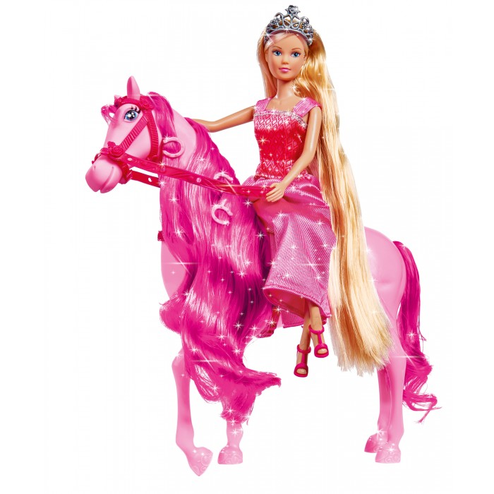 Simba Кукла Штеффи супер длинные волосы с лошадкойКукла Штеффи супер длинные волосы с лошадкойSimba Кукла Штеффи супер длинные волосы с лошадкой 2 вида 5734025  Детская кукла Штеффи-принцесса с конем от компании Simba Toys изготовлена из высококачественной пластмассы и ткани. В ассортименте 2 вида кукол - принцесса в голубом платье с белым конем и принцесса в розовом платье с розовым конем.   В комплекте:кукла; конь; аксессуары.  Размер игрушки: 29 см.<br>