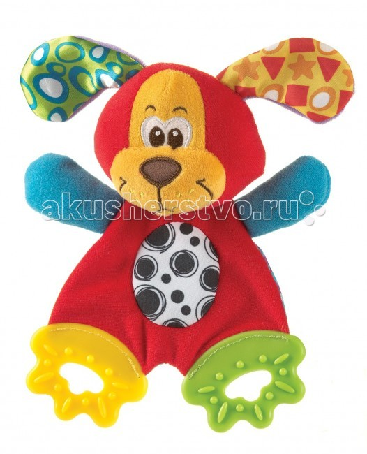 Развивающая игрушка Playgro Щенок 0183155Щенок 0183155Мягкий прорезыватель Щенок от фирмы Playgro понравится малышу.   Мягкая и приятная на ощупь игрушка-салфетка из ярких тканей разной фактуры. Ножки игрушки представляют собой 2 рельефных прорезывателя, они отлично подходят период прорезывания зубов. Игрушка способствует развитию мелкой моторики, тактильных ощущений и визуального восприятия.<br>