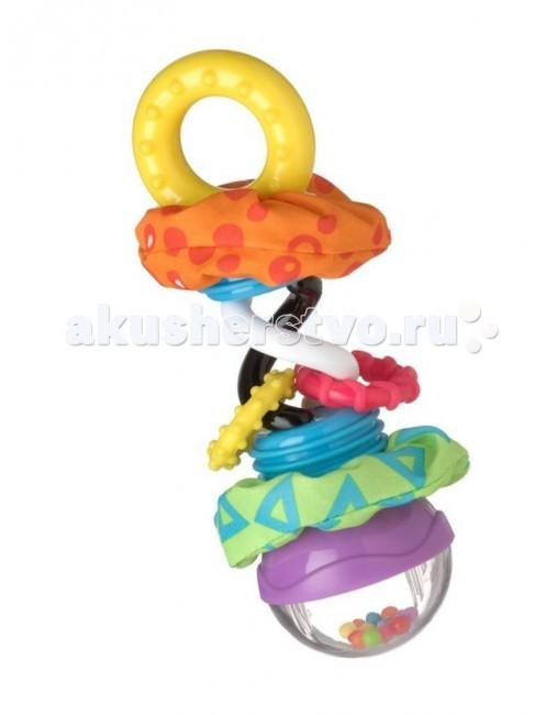 Погремушка Playgro Забавные шарики 0181598Забавные шарики 0181598Милая погремушка «Забавные шарики» от фирмы Playgro понравится малышу. Ведь ее удобно хватать за основание и специальное колечко, небольшого размера, а значит, будет развиваться моторика. Игрушка настолько многофункциональна, что проще один раз увидеть. В верхней части имеется прозрачный купол, внутри которого яркие разноцветные шарики, которые задорно скачу и гремят, когда трясут погремушкой. Зеркальная поверхность внутри купола, зрительно увеличит количество шариков, а значит, малышу будет интересней играть. Далее идут две контрастные спирали, которые помогут развить зрение, потренируют способность фокусировки на близком предмете. А пока малыш тренирует глазки, он может погрызть специальные кольца-прорезыватели, помогая зубкам расти быстрее. Стоит отметить, и текстильные вставки, с шуршащим наполнением, которые очень нравятся детишкам. Удобная погремушка, такая яркая и забавная, что ребенок не захочет с ней расставаться.<br>