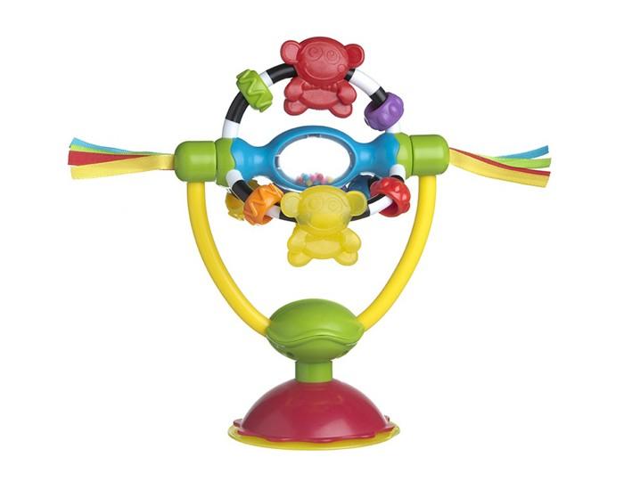 Развивающая игрушка Playgro на присоске 0182212на присоске 0182212Разносторонняя развивающая игрушка на присоске от фирмы Playgro понравится малышу.  Игрушку можно легко закрепить на любой плоской поверхности при помощи удобной присоски. Твердые, гладкие и мягкие материалы, из которых изготовлена игрушка, помогают малышу в развитии тактильных ощущений, а яркие цвета игрушки тренируют координацию глаз малыша. Кусая обезьянку-прорезыватель, малыш сможет успокоить десны в период прорезывания зубов. Перебирая мелкие бусинки, малыш развивает навыки мелкой моторики. Яркие шарики в погремушке способствуют развитию зрительной координации.<br>