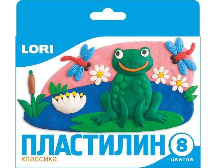 Lori Пластилин Классика 8 цветовПластилин Классика 8 цветовПластилин Классика 8 цветов подойдет для занятий лепкой дома или в детском саду.   Пластилин легко разминается в руках, а цветные отпечатки легко смываются с ладошек. Он изготовлен из безопасных для здоровья и не токсичных материалов. В комплекте имеется пластиковый стек.  Занятие лепкой развивает не только воображение и фантазию ребенка, но и мелкую моторику рук.  Упаковка с европодвесом.<br>