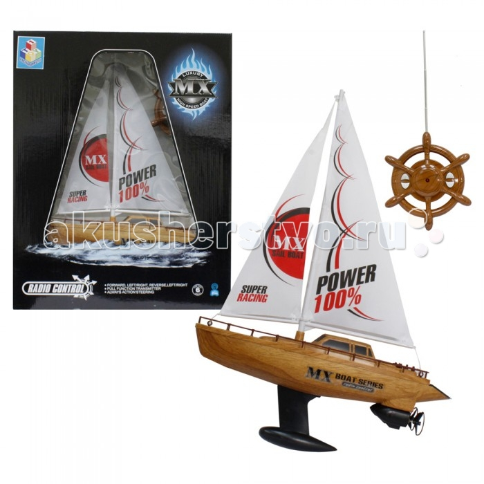 1 Toy Лодка парусная на радиоуправлении 39 смЛодка парусная на радиоуправлении 39 см1 Toy Лодка парусная на радиоуправлении 39 см Т58537  Радиоуправляемая парусная лодка Super Racing - это игрушечная яхта, форма и дизайн которой напоминают конструкцию настоящего судна. Яхта может двигаться вперед и назад, поворачивать в стороны. Игрушка отлично держится на воде, ведь при ее создании были учтены основные правила кораблестроения. Корпус лодки выполнен из пластика, стилизованного под древесину. В этих же тонах выполнен пульт управления, имеющий форму штурвала. С такой игрушкой ваш ребенок сможет участвовать в гонках, организованных для новичков в этом виде спорта.   Комплект: лодка, пульт управления. Длина лодки: 39 см.<br>