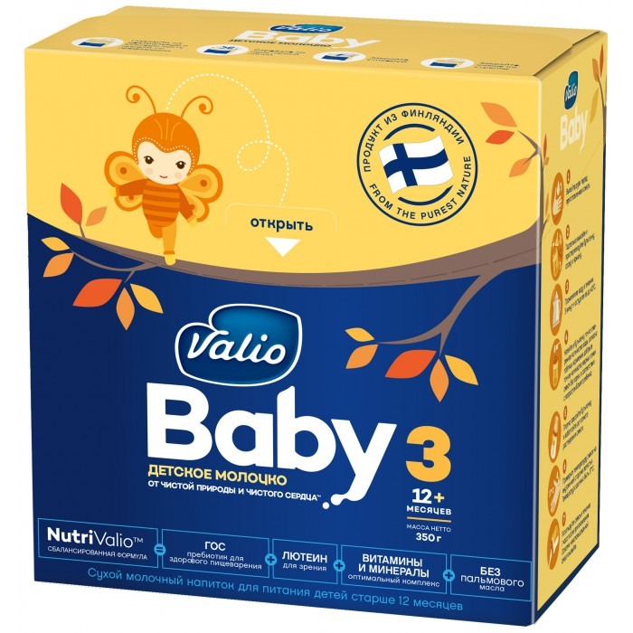 Valio Baby 3 Молочная смесь от 12 мес. 350 гBaby 3 Молочная смесь от 12 мес. 350 гСухой молочный напиток для питания детей старше 12 месяцев месяцев.  К возрасту первого года жизни ребенок становится более подвижным, активным и именно поэтому нуждается в большем количестве энергии и питательных веществ, которые обеспечивают защиту иммунитета и способствуют росту и развитию ребенка. Детское молочко Valio Baby®  3 может использоваться при смешанном и искусственном вскармливании и идеально подходит для малыша в этом возрасте.  Valio Baby® 3 – это сбалансированная формула NutriValio™, оптимально приближенная к составу грудного молока, в состав которого входят:  Пребиотик ГОС Лютеин Оптимальный состав витаминов и минералов, Омега-3, Омега-6 Только натуральные компоненты молока без пальмового масла.  Пребиотик ГОС (галактоолигосахариды) подобные пребиотики содержатся в грудном молоке, помогают росту здоровой микрофлоры кишечника, нормализуют пищеварение, обладают мягким регулирующим влиянием на стул, способствуют развитию иммунитета.  Лютеин необходим для формирования и нормальной работы органа зрения младенцев; выполняет роль оптического фильтра, защищает сетчатку глаза от повреждающего действия света определенной длины волны. Лютеин содержится в грудном молоке, но не вырабатывается организмом самостоятельно и поступает только с питанием.  Витамины и минералы в составе Valio Baby ® 3 тщательно  сбалансированы   для гармоничного развития в соответствии  с возрастом малыша.  Оптимальное сочетание железа с цинком и витамином С в смеси Valio Baby ® 3 способствуют лучшему их усвоению. Соотношение кальция и фосфора  оптимизировано для правильного развития  костной ткани.   Отсутствие пальмового масла способствует формированию мягкого стула, снижению частоты колик и срыгиваний.  Молочный жир важен для правильного роста и развития малыша. Он, как и жир грудного молока, служит источником важных компонентов для развития мозга и правильного обмена веществ. Молочный жир в качестве и