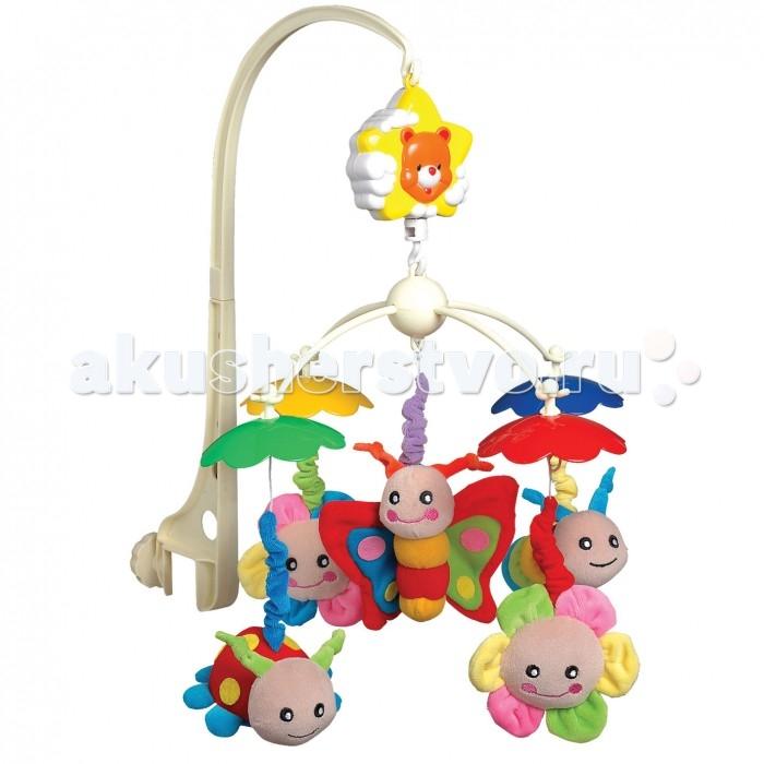 Мобиль Little Beetle Насекомые GT5082Насекомые GT5082Мобиль Little Beetle Насекомые на детскую кроватку состоит из прочного пластикового основания, снабженного надежным креплением, музыкального модуля и пяти мягких текстильных игрушек-подвесок.  Особенности: Игрушки выполнены в виде веселых и дружелюбно выглядящих бабочек, жучков и цветочков, сшитых из приятного на ощупь материала насыщенных цветов. Элементы мобиля легко и быстро соединяются друг с другом, а сам он крепко держится на бортике кроватки.  Во включенном состоянии игрушки неспешно вращаются по кругу и проигрывается приятная колыбельная мелодия, помогая малышу успокоиться и заснуть.  Мобиль оснащен надежным механизмом и не требует для работы батареек.<br>