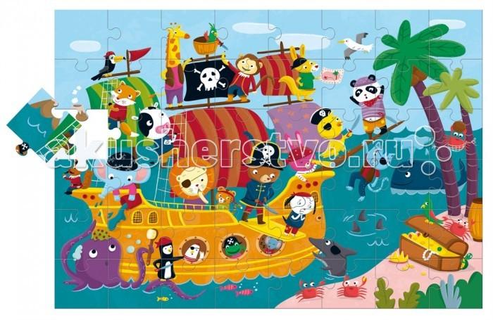 Ludattica Пазл гигантский Пиратский корабль 47222 (48 элементов)Пазл гигантский Пиратский корабль 47222 (48 элементов)Ludattica Пазл гигантский Пиратский корабль 47222 (48 элементов) не оставит равнодушным Вашего ребенка.  Гигантскии пазл создает большое игровое поле 70 х 100 см с красочными сюжетами. Ребенок с удовольствием собирает пазл из больших прочных картонных деталей.   Иллюстрация стимулирует фантазию ребенка и его способность творчески осмысливать увиденное. Паззл с 48 деталями большого размера из очень плотного картона. С помощью паззла создается игровое пространство для организации сюжетно-ролевых игр.   Размер пазла 100 х 70 см<br>