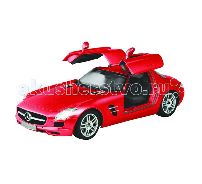 Auldey Машина на радиоуправлении Mercedes-Benz-SLS-AMG 1:16Машина на радиоуправлении Mercedes-Benz-SLS-AMG 1:16Auldey Машина на радиоуправлении Mercedes-Benz-SLS-AMG 1:16  Такой шикарный, потрясающий спортивный автомобиль MERCEDES мечтает иметь каждый мальчишка, и когда малыш подрастет, он непременно купит такую машину, а пока он может насладится управлением машиной на радиоуправлении Мерседес Аудлей!  Машина на радиоуправлении MERCEDES BENZ SLS AMG - это восторг и удовольствие! Невероятно красивая, стильная машина на р/у в спортивном стиле просто потрясет своей схожестью характеристик и деталей с оригиналом.  Она невероятно легка в управлении, моментально реагирует на команды, ездит вперед и назад, влево и вправо и останавливаться.  Автомобиль оснащен высокопрофессиональным шасси, улучшенным двигателем, полнофункциональным контролем, амортизированной подвеской, задние колеса могут вращаться в разном направлении.  Все это делает автомобиль неимоверно маневренным и позволяют воспроизводить маневры настоящего авто, а турбо режим позволяет развивать скорость 11 км/ч!  Характеристики:  Лицензированная модель автомобильного бренда Высочайшая степень детализации в масштабе 1:16  Высокий уровень точности радиоуправления позволяет добиться отличной точности поворотов даже на высокой скорости  У автомобиля профессиональное шасси Полнофункциональный радиоконтроль Свет передних и задних фар, рабочие стоп - сигналы  Независимая подвеска передних и задних колес, что позволяет ему имитировать маневры настоящей машины Управление осуществляется вперёд, назад, вправо, влево  При движении вперед-назад загораются соответствующие фары Двери открываются  Управление автомобилем совершается с помощью пульта   Материал:  корпус из прочного пластика,  шины из резины  Частота 27 MHz  Радиус действия пульта — 12 м.   В комплекте:  Автомобиль пульт инструкция Скорость — 7 км/ч, турбо-режим 11 км/ч.  Игра в машинки помогает растущему малышу в развитии внимания, направляет на освоение физическог