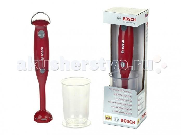 Klein Игрушечный блендер BoschИгрушечный блендер BoschKlein Игрушечный блендер Bosch   Игрушечный блендер Bosch – это функциональная копия настоящего кухонного прибора от одного из крупнейших производителей бытовой техники, созданная немецким брендом Klein.   Игрушка входит в линейку «Моя первая кухня», в которой собрано реалистичное оборудование для детской кухни: чайники, миксеры, микроволновые печи, кофемашины и другие реплики бытовой техники.   Блендер Bosch издает реалистичные звуки работающего кухонного прибора. Внимание: для активации звуковых эффектов игрушки вам понадобится 1 батарейка типа ААА, ее следует приобретать отдельно.   Размеры упаковки: 7х8х28,5 см.  Игрушка предназначена для детей старше 3 лет.<br>