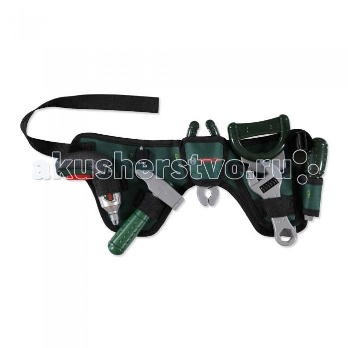 Klein Ремень с игрушечными инструментами BoschРемень с игрушечными инструментами BoschKlein Ремень с игрушечными инструментами Bosch   Ремень с игрушечными инструментами Bosch позволит юному мастеру всегда быть во всеоружии. Ведь из своего поясного ремня он может достать один из 6 предметов, необходимых для починки чего угодно.   Итак, в комплект входят: слесарный молоток, отвертка (щелкает при закручивании), гаечный ключ, клещи, пила, а также функциональный шуруповерт, который издает звуки работы настоящего инструмента, мигает лампочками, имеет несколько скоростей и направлений вращения сверла. Все это крепится на удобном поясном ремне из прочной ткани.   Внимание: для работы шуруповерта вам понадобится 2 батарейки ААА. Они не входят в комплект.  Игрушка создана для мальчиков старше 3 лет.<br>