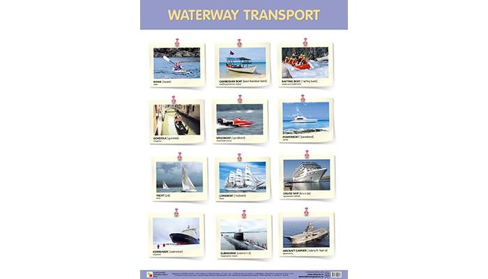 Мозаика-Синтез Обучающий плакат WATERWAY TRANSPORT Водный транспорт