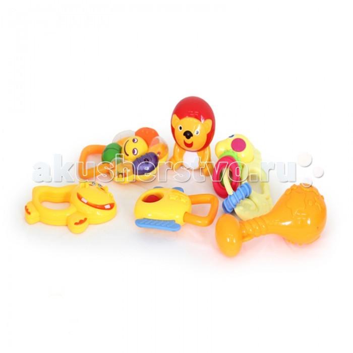 Погремушка Elefantino Набор Саванна 6 шт. с прорезывателямиНабор Саванна 6 шт. с прорезывателямиElefantino Набор погремушек Саванна 6 шт. с прорезывателями IT100933  Набор погремушек Савана от Elefantino - это 6 ярких гремящих игрушек, которые любят маленькие детки. В наборе есть погремушки в виде львенка, бегемотика, цветочка и других фигурок. Все они могут использоваться как прорезыватели, что предусмотрено конструкцией и выбором материала, это особенно необходимо в период появления первых зубов. Погремушки - это первые помощники в развитии у малыша зрительного и звукового восприятия.<br>