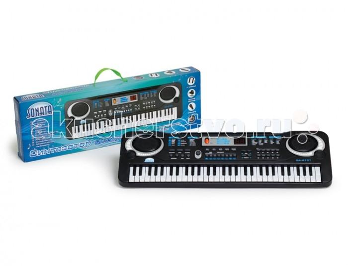 Музыкальная игрушка Sonata Синтезатор руссифицированный SA-6101Синтезатор руссифицированный SA-6101Соната Синтезатор Соната руссифицированный станет хорошим подарком для ребенка, который увлекается музыкой.   С такой игрушкой Ваш малыш разовьет музыкальный слух, мелкую моторику, воображение, научится выступать перед публикой без стеснения. Прилагается подробная инструкция.  Особенности модели:  панель с 61 клавишами 16 тембров 10 ритмов 6 демо мелодий дисплей регулировка громкости<br>