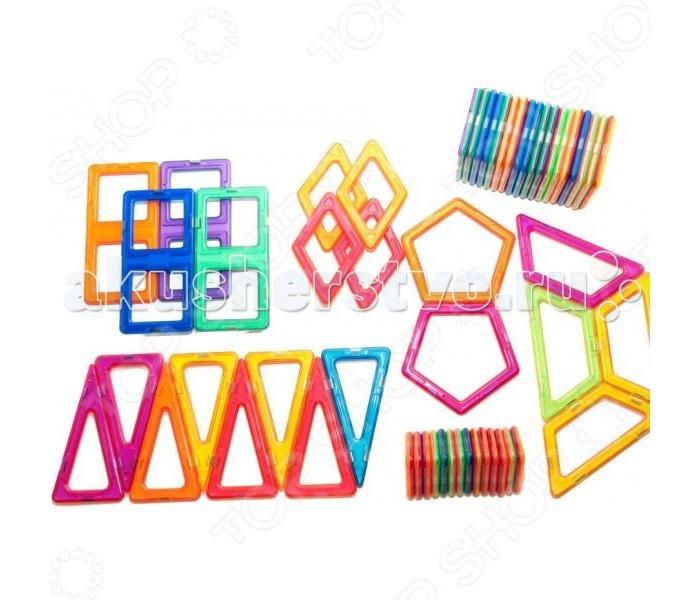 Конструктор МагМастер Набор Дизайнер 54 деталиНабор Дизайнер 54 деталиНабор МагМастер Дизайнер, 54 детали.  Играя с магнитным конструктором Дизайнер из серии Бюро талантов, ребенок сможет воплотить в реальность всех придуманных фантастических существ и персонажей. Благодаря магнитной основе пластиковых деталей конструктора, элементы можно соединять различными способами, становясь при этом дизайнером и инженером собственных проектов.   Помимо этого, ребенок узнает и сможет научиться различать новые геометрические фигуры и их составляющие. Каждая такая фигура окрашена в яркий и оригинальный цвет. Универсальность подобных магнитных конструкторов позволяет со временем докупать новые наборы, постепенно дополняя и увеличивая число деталей, собирать более масштабные сооружения. Серия конструкторов Бюро талантов долговечна и изготовлена из качественных материалов.  Игра с детальками МагМастера помогает решать важные задачи развития и обучения ребенка: Внимательность и память Творческое мышление и воображение Логическое мышление и подготовка к изучению математики Моторика пальчиков и развитие речи Зрение и эстетическое развитие Координация движений и самостоятельность Наблюдательность и точность. Изобретательность и побуждение к размышлению Развитие произвольного внимания и усидчивости Развитие художественных способностей Развитие пространственно-архитектурных способностей Развитие чувства пропорции и симметрии Развитие способности к моделированию Чувство уверенности в себе Радость от познания мира и творчества Антистресс при нагрузках современных детей. Комплект: 14 треугольников, 18 квадратов, 4 ромба, 4 трапеции, 4 прямоугольников, 8 треугольников, 2 пятиугольника.<br>