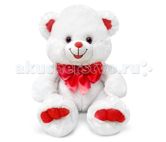 Мягкая игрушка Lava Медведь белый с красным бантом большой
