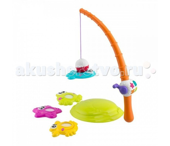 Chicco Игрушка РыбалкаИгрушка РыбалкаИгрушка развивает моторные навыки, баланс, координацию движений, восприятие звука, цвета и формы.  Когда малыш ловит одну из четырех разноцветных рыбок, пластиковая удочка реагирует забавными звуками и световыми эффектами. Предлагается два электронных режима для обучения ребенка различению цветов и форм, а также 25 мелодий и разнообразные звуковые эффекты.   Для работы нужны батарейки 2xAAA 1,5V (в комплект не входят).<br>