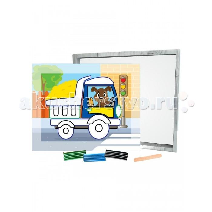 Азбука Тойз Раскраска пластилином Машинка