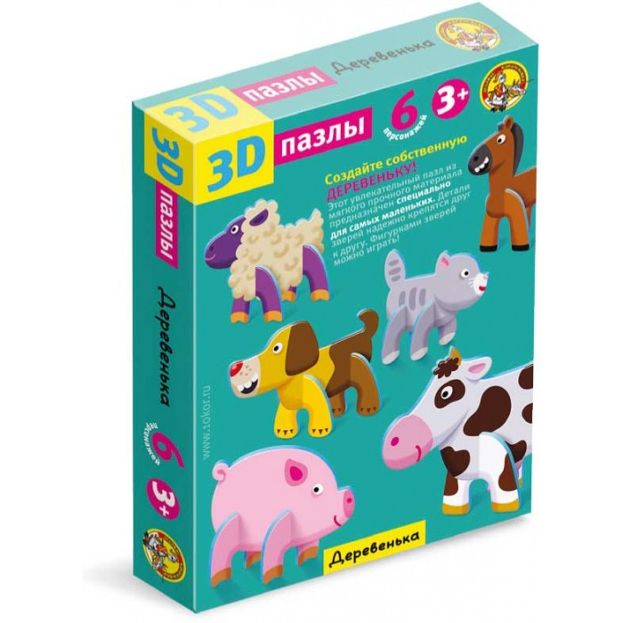 Десятое королевство Пазл 3D ДеревенькаПазл 3D ДеревенькаПазл 3D Деревенька привлечет внимание вашего малыша и не позволит ему скучать. Пазл состоит из 18 элементов, соединив которые ребенок получит объемные фигурки животных. Во время сборки фигурок малыш запомнит названия домашних и диких животных. Благодаря мягкому и прочному материалу крупные детали пазлов легко соединяются и надежно крепятся между собой. Игра с таким пазлом поможет развить мелкую моторику рук, логическое мышление и воображение ребенка.  Основные характеристики:   Размер упаковки: 27,5 x 20 x 4 см Вес: 145 г<br>