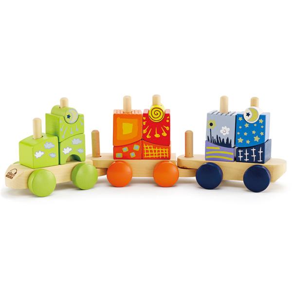Деревянная игрушка Hape Конструктор Паровозик Е0417
