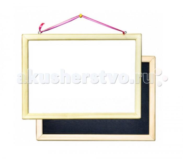Анданте Доска магнитно-маркерная-меловая двухсторонняя в неокрашенной раме 40 х 50 смДоска магнитно-маркерная-меловая двухсторонняя в неокрашенной раме 40 х 50 смДоска Анданте магнитно-маркерная-меловая двухсторонняя отлично подойдет как для детского обучения, так и для творческого развития.   Черная сторона доски предусматривает использование мела, белая сторона подходит для нанесения маркера, который легко удаляется с поверхности специальной губкой.   В наборе имеются магниты, с помощью которых к доске можно будет прикрепить материалы для обучения или же рисунок, который ребенку нужно перенести на доску.   Доска позволит сделать процесс обучения более наглядным и познавательным.  Размер доски: 40 х 50 см  Мелки и маркеры в комплект не входят.<br>