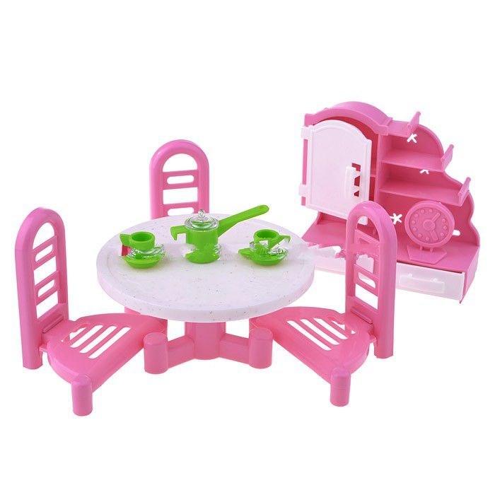 Форма Набор мебели Гостиная-2Набор мебели Гостиная-2Набор мебели Гостиная-2 Форма  Любимым куклам для успешной игры требуется своя собственная мебель и посуда. Комплексный набор «Гостиная 2» подходит для гостиной, столовой, кухни в кукольном домике.   Игрушки произведены из высококачественной пластмассы, подойдут для небольших куколок и пупсов, создавая в домике реалистичную атмосферу.  Комплект: 3 стула, 4 предмета посуды, сервант с полочками и шкафчиками и часы настольные. Подходящий размер куклы: около 12-15 см.<br>