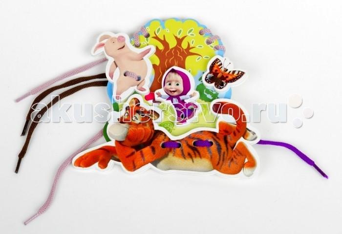 Развивающая игрушка Десятое королевство Деревянная игрушка-шнуровка Маша и Медведь Полоски и усыДеревянная игрушка-шнуровка Маша и Медведь Полоски и усыДеревянная шнуровка Полоски и усы с изображением героев, любимых всеми детьми, предназначен для развития творческого потенциала и воображения малышей. В набор входит деревянная основа и разноцветные шнурки. Малышу предстоит продеть шнурки через отверстия. В процессе игры развивается фантазия и совершенствуется моторика детских пальчиков.  Основные характеристики:   Размер упаковки: 17 х 23 х 25 см<br>