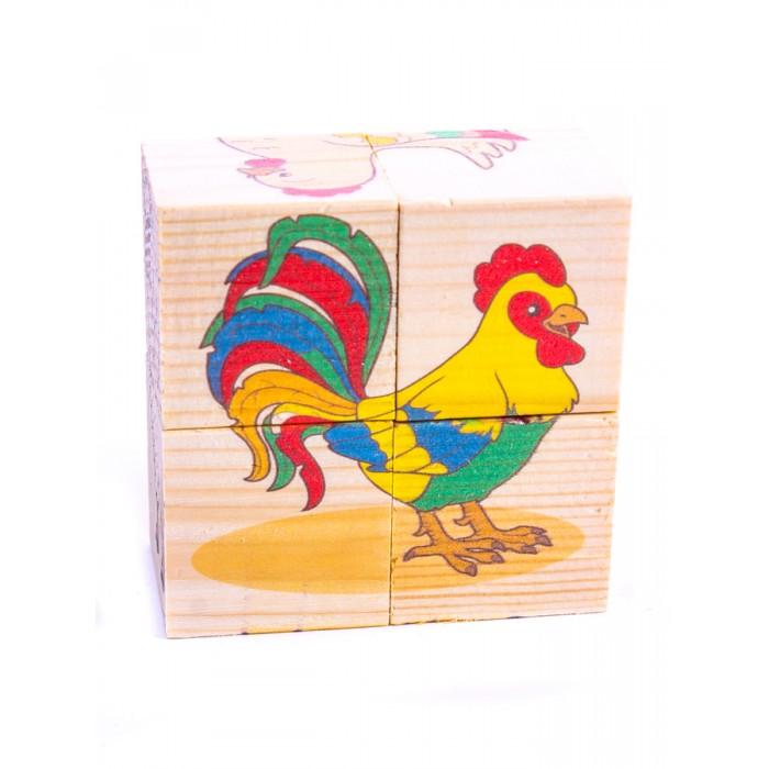 Деревянная игрушка Анданте Кубики-пазл Домашние животные