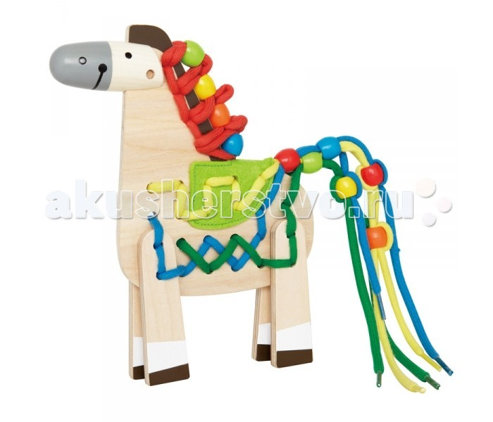 Деревянная игрушка Hape Лошадка Е1016Лошадка Е1016На сегоднешний момент игрушки со шнурками лучше других развивают навыки мелкой моторики, координации и ловкости. Малыш будет вдевать разноцветные шнурки в хвост и гриву лошадки, одевать на шнурки разноцветные бусинки и кружочки, что разовьет его творческое мышление и воображение. С забавной лошадкой малыш быстро научится различать и запоминать цвета.  От 3 лет. Размер упаковки: 20.3 х 2.5 х 17.8 см Размер игрушки: 15 х 2.4 х 19.5 см<br>